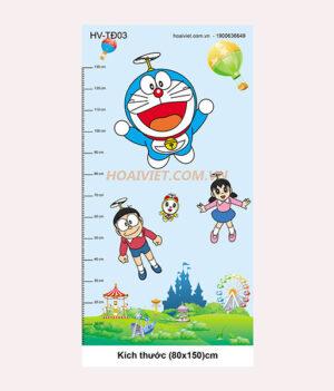 tranh đo chiều cao trẻ em hình doraemon