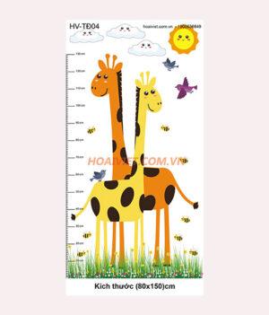 tranh đo chiều cao trẻ em hình hươu cao cổ